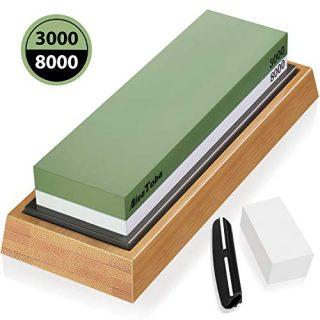 AivaToba Sharpening Stones 2 Side Grit 3000/8000 Whetstone - Kitchen Knife Sharpener Waterstone with Flattening Stone, Non-Slip Bamboo Base, Angle Guide, Polishing Stone for Kitchen & Chef Knives