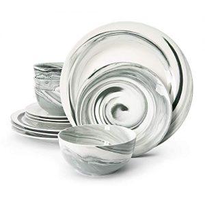 Divitis Home Fusion Porcelain Dinnerware Set 12 Piece, Black Round Plates (Soup Bowls, Dinner Plates, Salad Plates), Dish Set, Dinner Plates, Plates and Bowls Sets, Dishes Dinnerware Sets