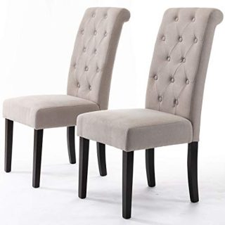 DininL Fur Dining Chair Kitchen Chairs Set of 2 Modern Dining Room Side Chairs Fabric Cushion Seat Back (Light Gery)