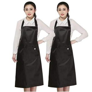 Lchkrep Women Bib Apron 2 Pack Unisex Water Oil Stain Resistant Black with Big Pockets Cooking Kitchen Aprons Very Suitable for Soft Chef, Gardens, Pet Groomers, Dishwashers and Supermarkets (Black)