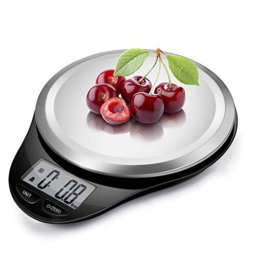 Digital Kitchen Scale with Wide Stainless Steel Platefrom High Accuracy Multifunction Food Weight Scale LCD Display for Baking Cooking Max 11lb, Tare & Auto Off Function Hang to Stow - Black