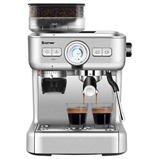 COSTWAY Semi-Automatic Espresso Machine, 20 Bar Pump, Built-In Milk Frother and Steamer, 10s Preheating, PID Temperature Control, 2L Removable water tank, Drip Tray, Grinder with 30 Settings, Stainless Steel Pressure Coffee Brewer, Countertop Cappuccino M