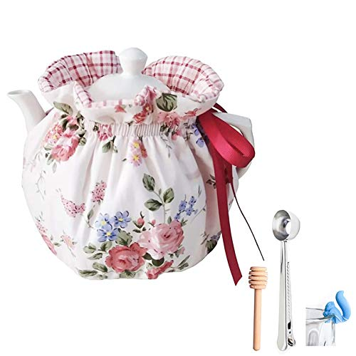 VOSOL 100% Cotton Printed Tea Cosy for teapot Keep Warm Double Tnsulated Kettle Cover Kitchen Tea Pot Dust Cover (Warm)