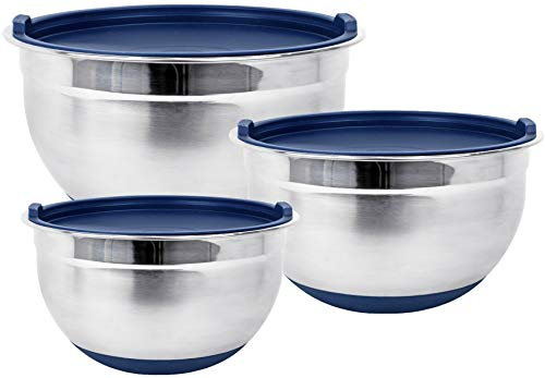 Fitzroy and Fox Non-Slip Stainless Steel Mixing Bowls with Lids, Set of 3, Blue