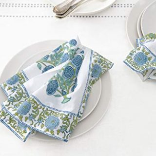 AVRIT Kitchen Dinner Cloth Napkins 100% Cotton Set of 4 Cocktail Napkins Block Printed White Blue | Washable | for Weddings | Thanksgiving Christmas | 20 INCH X 20 INCH Autumn and Winter Collection