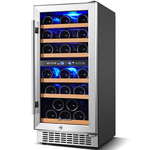 Wine Cooler Dual Zone Aobosi 15 inch 30 Bottle Wine