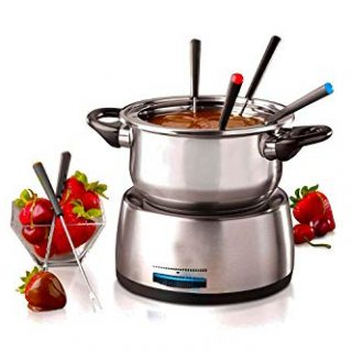 6-Cup Stainless Steel Electric Fondue Pot with Temperature Control