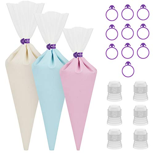 """Kootek 28 Pcs Cake Decorating Tools with 12 Reusable Silicone Piping Pastry Bags 3 Sizes (12"""" + 14"""" + 16""""), 6 Standard Couplers and 10 Icing Bag Ties Baking Supplies Accessories (Clear)"""