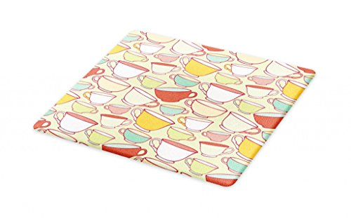 Lunarable Tea Party Cutting Board, Vintage Sketch Colorful Traditional Teacups Cozy Kitchen Elements for Tea Time, Decorative Tempered Glass Cutting and Serving Board, Large Size, Pink Yellow