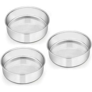 6 Inch Cake Pan Set of 3, E-far Stainless Steel Round Smash Cake Baking Pans, Non-Toxic & Healthy, Mirror Finish & Dishwasher Safe