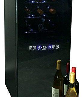 Koolatron WC24 Temperature Control Dual-Zone Wine Cellar With Digital Thermometer/Glass Mirror Door Andholder Rack, Black, 24 Bottle