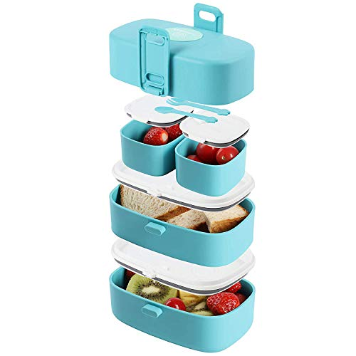 Stacking Bento Box Lunch Box with 4 Microwave-Safe