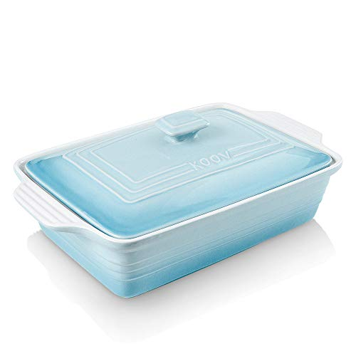 KOOV Ceramic Casserole Dish with Lid, Covered Rectangular Casserole Dish Set, Lasagna-Pans for Cooking, Baking dish With Lid for Dinner, Kitchen, 9 x 13 Inches, Gradient Series (Gradient Arctic)