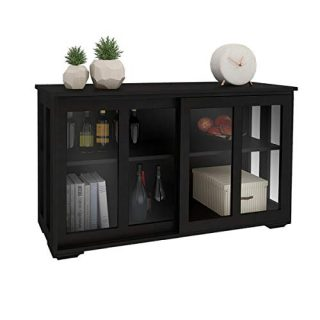 Kitchen Storage Cabinet RASOO Antique Black Buffet Sideboard Adjustable Shelf Home Cupboard Table with Transparent Glass Sliding Door for Kitchen, Dining Room, Living Room