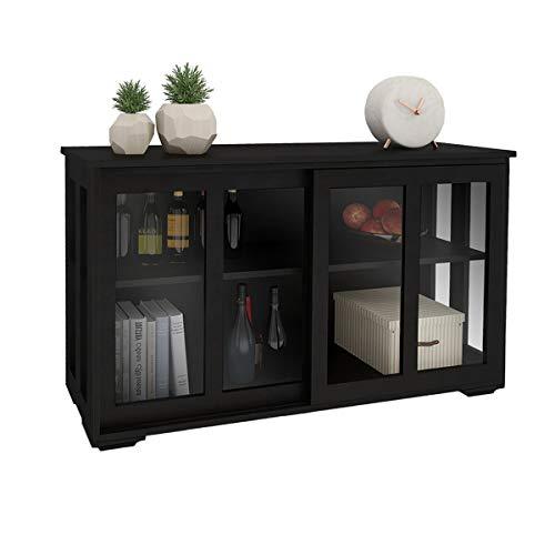 Kitchen Storage Cabinet RASOO Antique Black Buffet Sideboard Adjustable Shelf Home Cupboard Table with Transparent Glass Sliding Door for Kitchen, Dining Room, Living Room