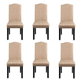Yaheetech Dining Chairs Dining Room Chairs Living Room Chairs with Rubber Wood Legs and Non-woven Fabric, Wedding, Hotel, Restaurants, Kitchen, Hall, Side Chairs with Nailhead Trim, Set of 6, Khaki