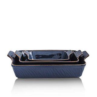 KOOV Bakeware Set, Ceramic Baking Dish, Rectangular Lasagna Pans for Cooking, Cake Dinner, Kitchen, 9 x 13 Inches, Texture Series 3-Piece (3 Piece, Aegean)