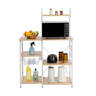 "lOOkME-H Standing Baker's Rack - Utility Storage Shelf, 35.5"" Microwave Stand 4-Tier 3-Tier Shelf, Kitchen Organizer Rack Organizer"
