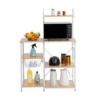 "lOOkME-H Standing Baker's Rack - Utility Storage Shelf, 35.5"" Microwave Stand 4-Tier 3-Tier Shelf, Kitchen Organizer Rack Organizer"