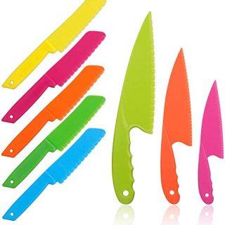 8 Pcs Kid Plastic Kitchen Knife Set for toddler, Toddler's Cooking Knives Children's Safe Cooking Chef Nylon Knives for Fruit, Bread,Cake,Salad,Lettuce Knife