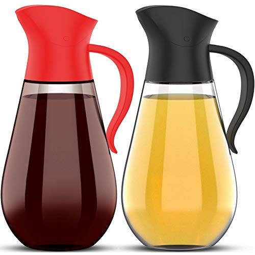Brieftons Oil & Vinegar Dispensers: 2 x 18.6 Oz Leakproof Glass Dispenser Bottles, Dual Condiment Dispensing Cruet Containers, with Automatic Stopper, Drip-Free & Spill-Free Spout, Non-Slip Handle