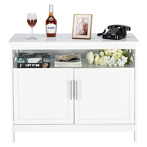 VINGLI Sideboard Buffet, White Kitchen Sideboard Cabinet Modern Dining Storage Server Multi-Functional Buffet Cabinet in Kitchen/Dining Room/Living Room with Open Shelf