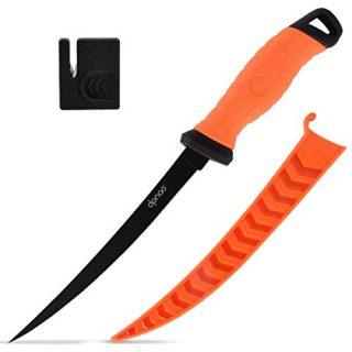 DPNAO Fishing Fillet Knife, 7-9 inch with Razor Sharp Stainless-Steel Flexible Blade, Non-Slip Grip, Includes Sheath and Sharpener