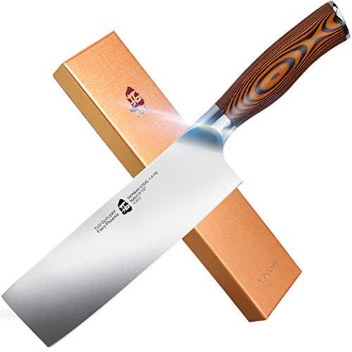 "TUO Nakiri Knife - Vegetable Cleaver Kitchen Knives - Japanese Chef Knife German X50CrMoV15 Stainless Steel - Pakkawood Handle - 6.5"" - Fiery Series"