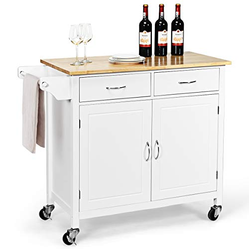 "WATERJOY Rolling Kitchen Buffet Cart, Wood Utility Kitchen Storage Island Cart with Wood Top, Antique White(43"" x 19.5"" x 35.5"")"