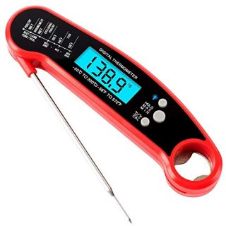 Digital Meat Thermometer Instant Read Out - Backlight Water-Resistant Kitchen Food Thermometer for BBQ Grilling Smoker Baking Turkey. (Red Color)