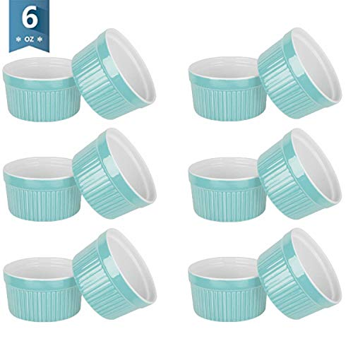 VIVILINEN 6 Ounce Porcelain Souffle Dishes Ramekins for Baking Creme Brulee Dishes Pudding Cup for Jams Ice Cream Desserts Custard Cups Set of 12 (Blue 12pcs)