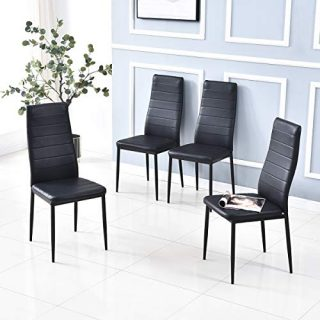 Baoksma Dining Chair Set of 4 for Dining Room Kitchen Chairs Accent Chairs Modern PU Dinner Chairs Side Chair for Kitchen Restaurant and Living Room, Black