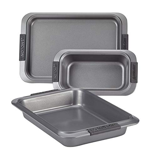 Anolon Advanced Nonstick Bakeware Set with Grips includes Nonstick Bread Pan, Cookie Sheet / Baking Sheet and Baking Pan - 3 Piece, Gray