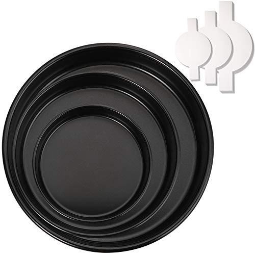 "Hiware 3 Pieces Non-stick Round Cake Pans Set (6"" 8"" 10"") with 90 Pieces Parchment Paper, Nonstick Baking Cake Pans, Dishwasher Safe"