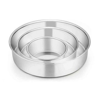 TeamFar Cake Pan, 4'' / 6'' / 8'', Stainless Steel Round Baking Tier Cake Pans Set, for Baking Steaming Serving, Healthy & Heavy Duty, Mirror Finish & Dishwasher Safe - 3 PCS