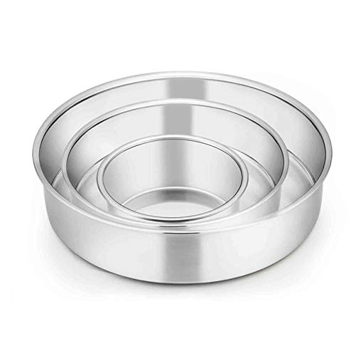 TeamFar Cake Pan, 4'' / 6'' / 8'', Stainless Steel Round Baking Tier Cake Pans Set, for Baking Steaming Serving, Healthy & Heavy Duty, Mirror Finish & Dishwasher Safe - 3 PCS