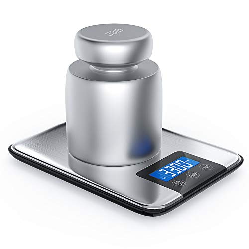 Nicewell 33lbs 15kgs Max Digital Kitchen Scale, Accurate Multifunction Food Weight Scale Grams and Ounces, Clean Modern with Premium Stainless Steel Finish, Includes Batteries