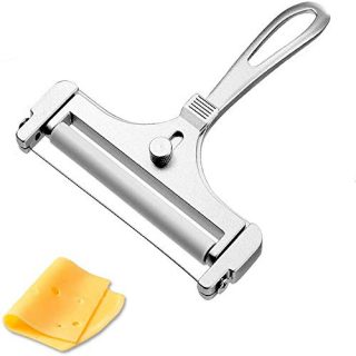 LOYY Stainless Steel Cheese Slicer, Adjustable Thickness Wire Cheese Cutter for Soft, Semi-Hard, Hard Cheeses, Kitchen Cooking Tool, Grey