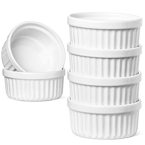 LE TAUCI 4 Oz Ramekins, Dipping Sauces - Creme Brulee Dishes,Soufle/Pudding Cups, Set of 6, Oven Safe, Oyster White