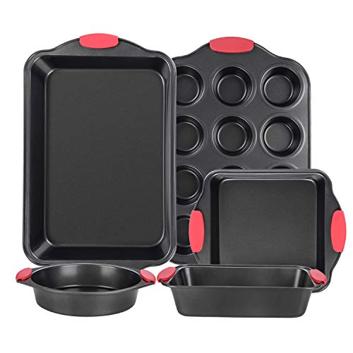 Nonstick Bakeware Set with Grips includes Cookie Sheet