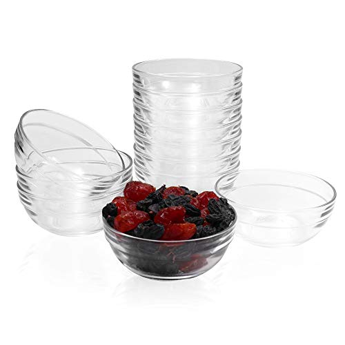 SZUAH Mini 3.5 Inch Glass Bowls Prep Bowls, 4.5 Ounce 135ml Serving Bowls Glass Clear Salad Bowl for Kitchen Prep, Dessert, Dips, Nut and Candy Dishes, Stackable and Dishwasher Safe, Set of 12