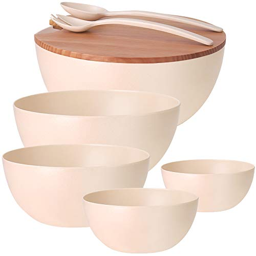 8PCS Large Salad Bowl Set(6 Quart)with Lid and Servers, Extra Large Serving Bowl Set, Mixing Bowl Set with Wooden Cutting Board - Bamboo Fiber Material Perfect for Salad Fruit Pasta, Beige