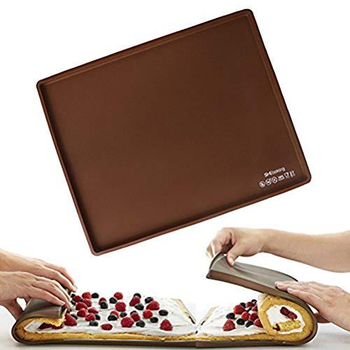 1 Pc Silicone Non Stick Swiss Roll Roulade Baking Cake Sheet Rectangular Shape Pizza Baking Pan Mat Cake Roll Maker (Brown)