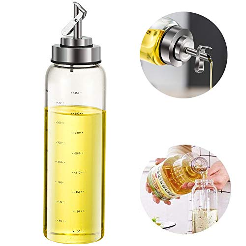 Olive Oil Dispenser Bottle,Automatic opening and closing oil pot,17 Ounce Cooking Oil Cruet Glass,No Drip,Big Oil and Vinegar Dispenser, Lead-Free Glass Oil Dispenser for Kitchen (17 OZ)