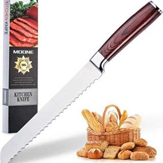 Serrated Bread Knife 8 Inch - High Carbon Ultra Sharp Stainless Steel Kitchen Knife with Wood Handle,for Cutting Crusty Breads Cake by Moone (New)
