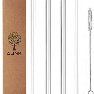 "ALINK Clear Straight Glass Drinking Straws, 9"" x 10 mm Reusable Smoothie Straws, Set of 4 with Cleaning Brush"