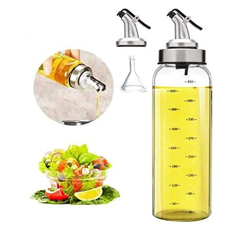 Olive Oil Dispenser Bottle - 17 oz. Big Olive Oil Dispenser Cruet Stainless Steel Pour Spout,Glass Cooking Oil Vinegar Measuring Dispenser Set for Kitchen and BBQ