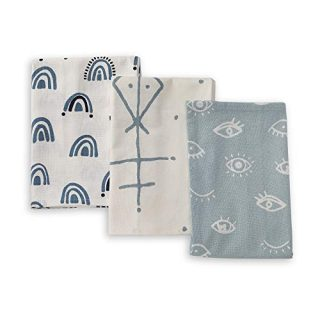 Folkulture Cotton Kitchen Towels and Dishcloths Set with Hanging Loop, Set of 3 Flour Sack Dish Towels and Dish Cloths for Drying Dishes, Highly Absorbent Decorative Tea Towels, 20 x 26 Inches, Mystic