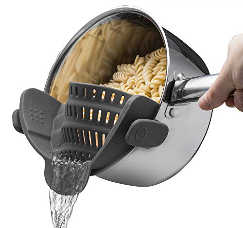 Kitchen Gizmo Snap N Strain Strainer - Gray | Patented Clip On Silicone Colander | Fits all Pots and Bowls