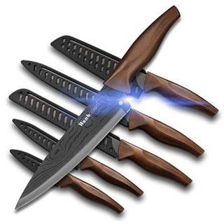 Wanbasion Matte Black Titanium Plated Stainless Steel Kitchen Knife Set, Chef Kitchen Knife Set Professional, Dishwasher Safe Kitchen Knife Set with Damascus Style